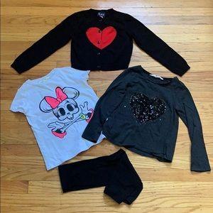 Lot of 4: Leggings, Top, Cardi and T-shirt, 5T